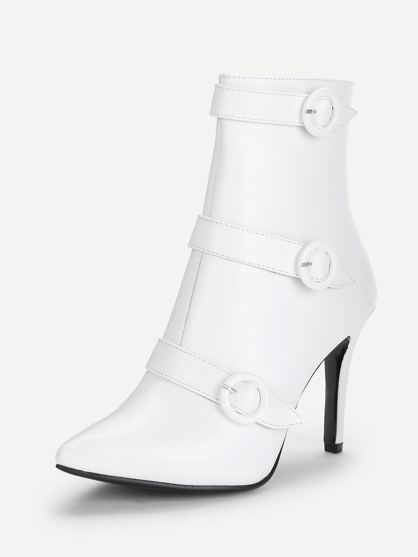 Buckle Strap Detail Stiletto Boots