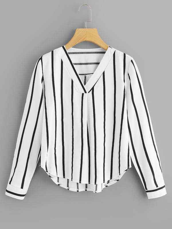 V Neck Striped Asymmetrical Top (Blanc, noir, ...)