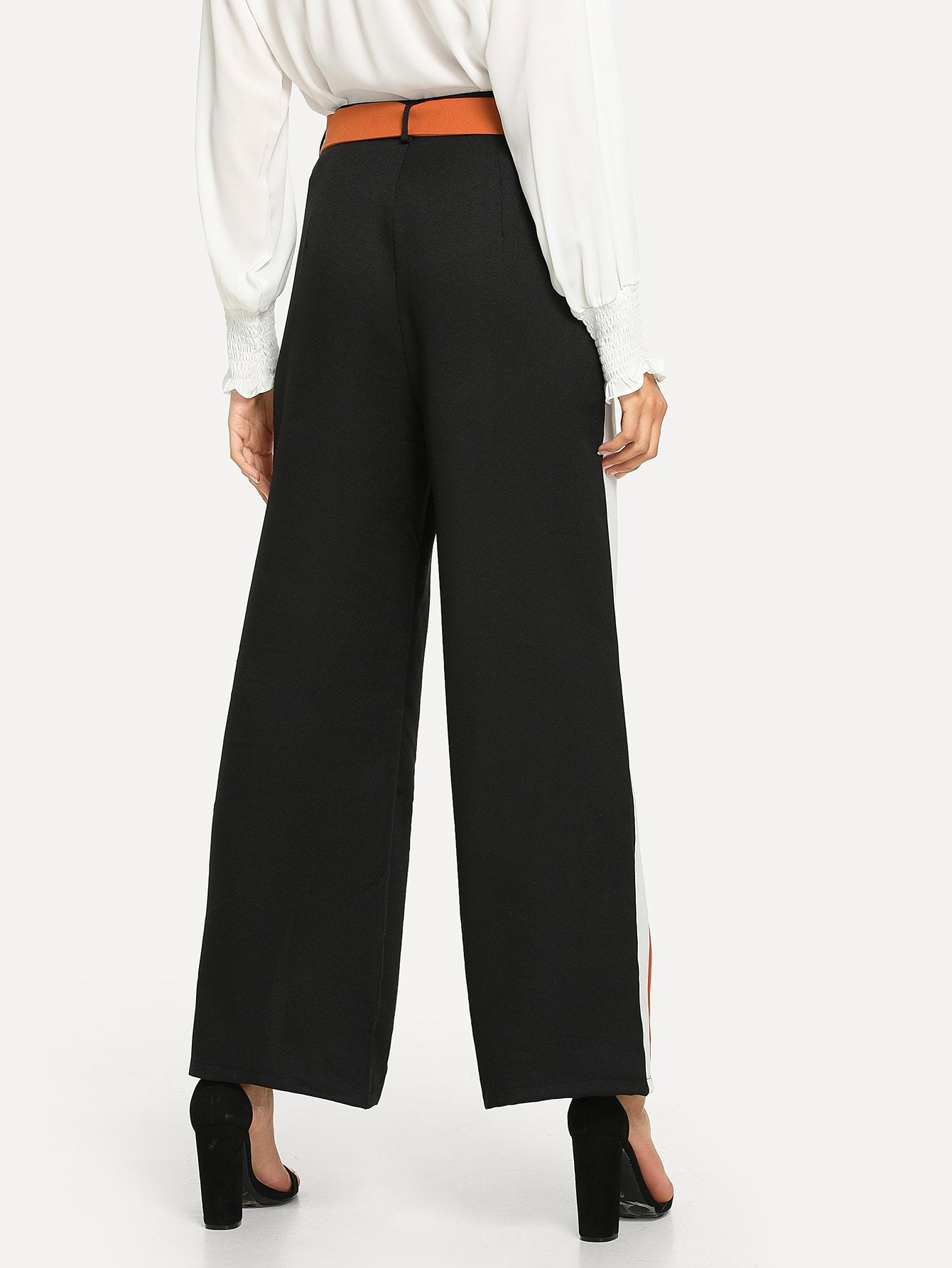Striped Ring Detail Belted Pants