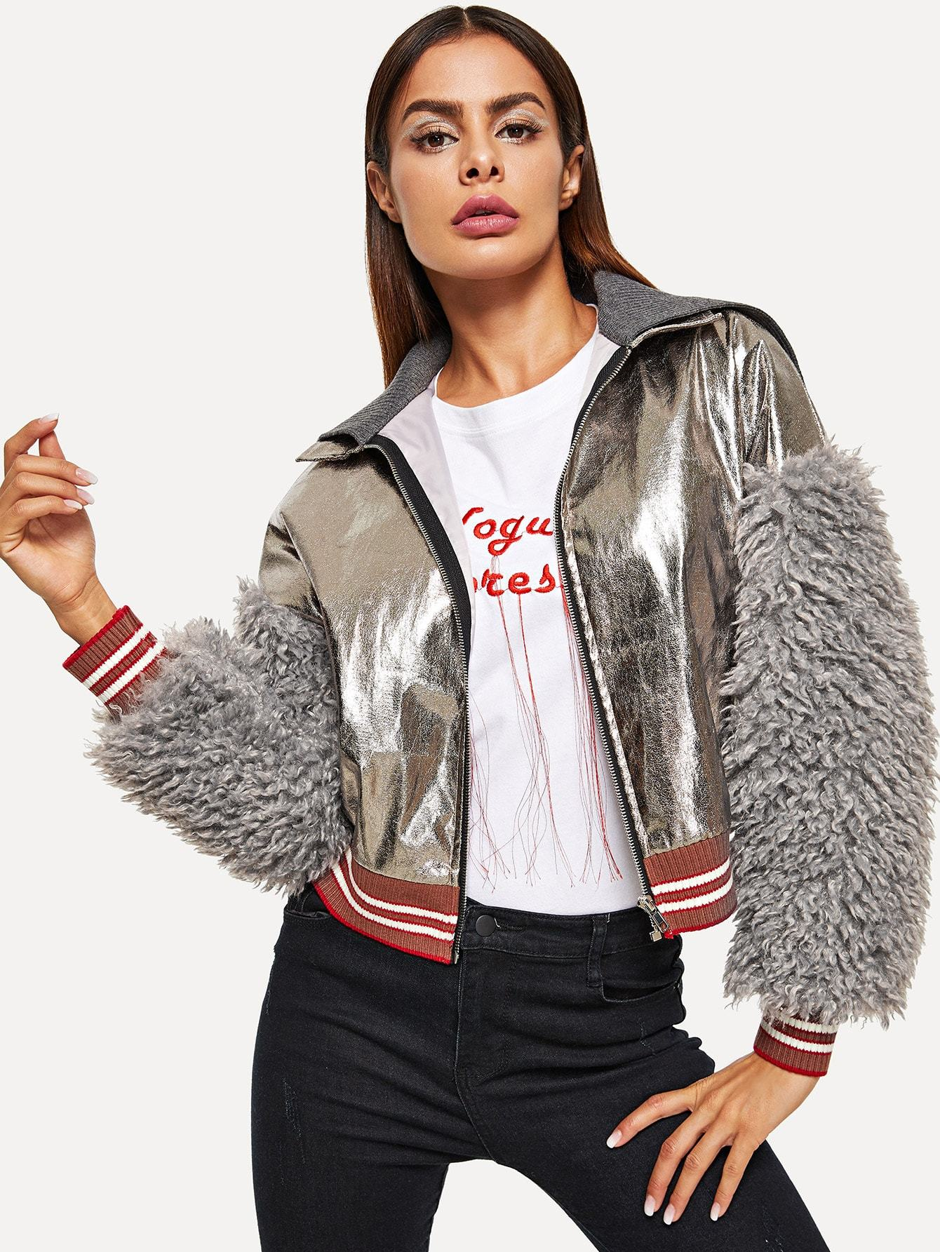 Faux Shearling Sleeve Metallic Jacket