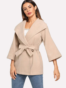 Waterfall Neck Belted Wrap Coat