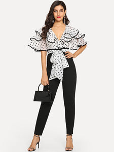 Surplice Neck Contrast Binding Colorblock Ruffle Jumpsuit