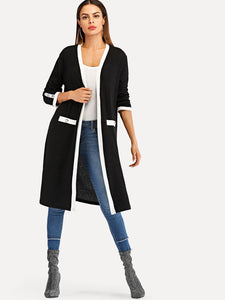 Contrast Trim Dual Pocket Coat
