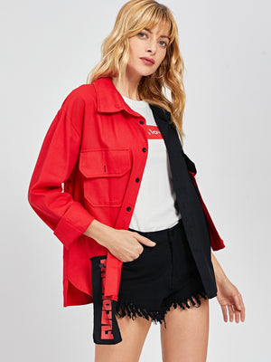 Denim Two Tone Applique Detail Jacket