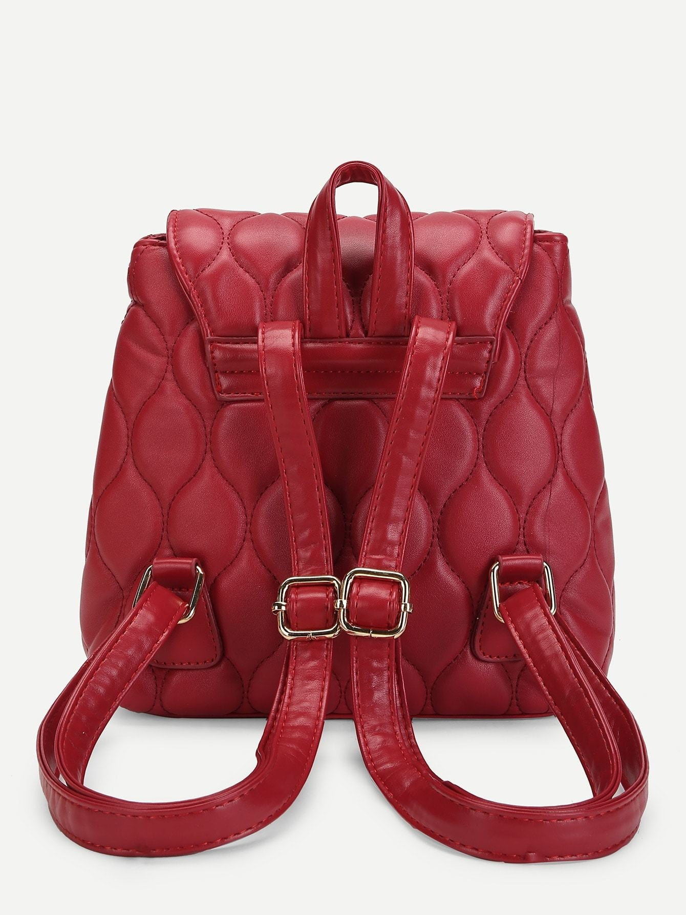 Quilted Buckle Design PU Backpack