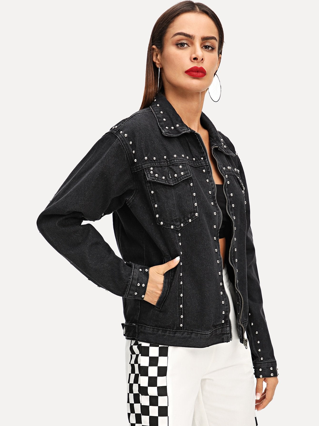 Drop Shoulder Beaded Denim Jacket
