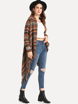 Fringe Hem Striped Outerwear