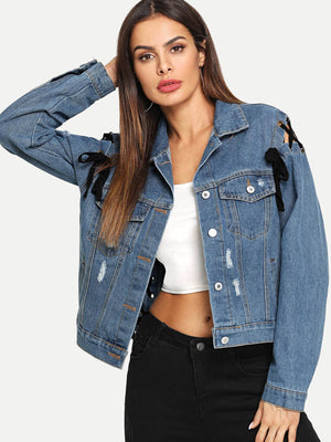 Lace Up Ripped Denim Jacket