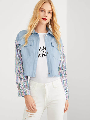 Contrast Sequin Single Breasted Pocket Collar Neck Jacket