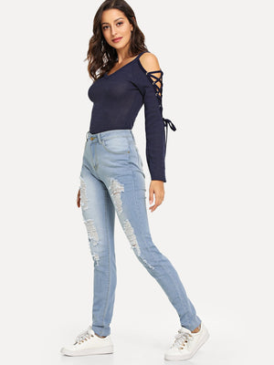 Ripped Pocket Detail Pants