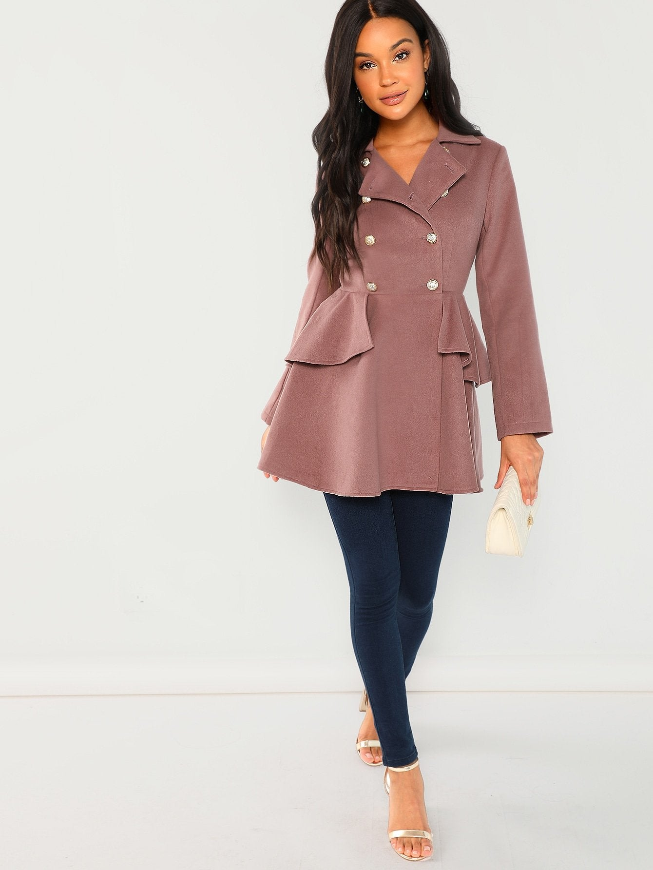 Double Breasted Collar Neck Solid Coat