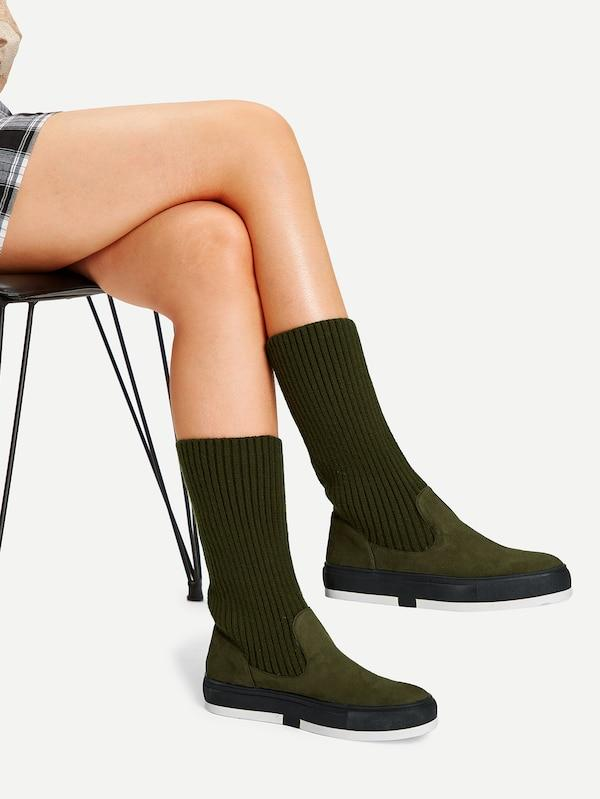 Knitted Shaft Flat Boots