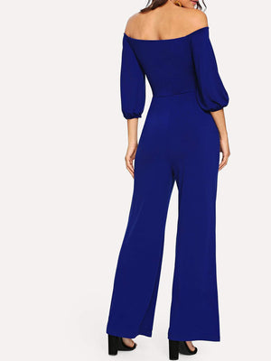 Twist Front Wide Leg Sweetheart Bardot Jumpsuit