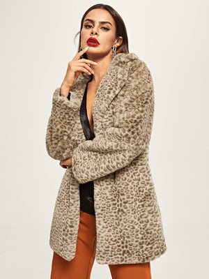 Notched Neck Leopard Print Coat