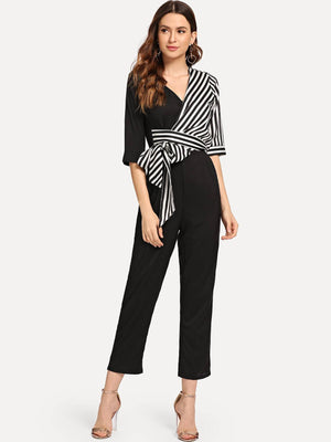 Surplice Front Knot Decoration Jumpsuit