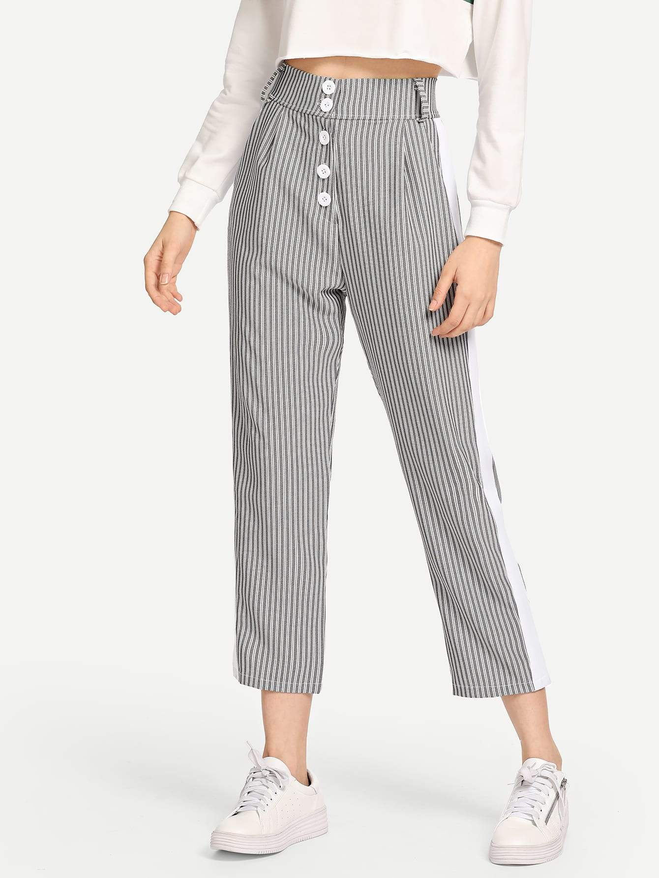 Button Front Striped Pants