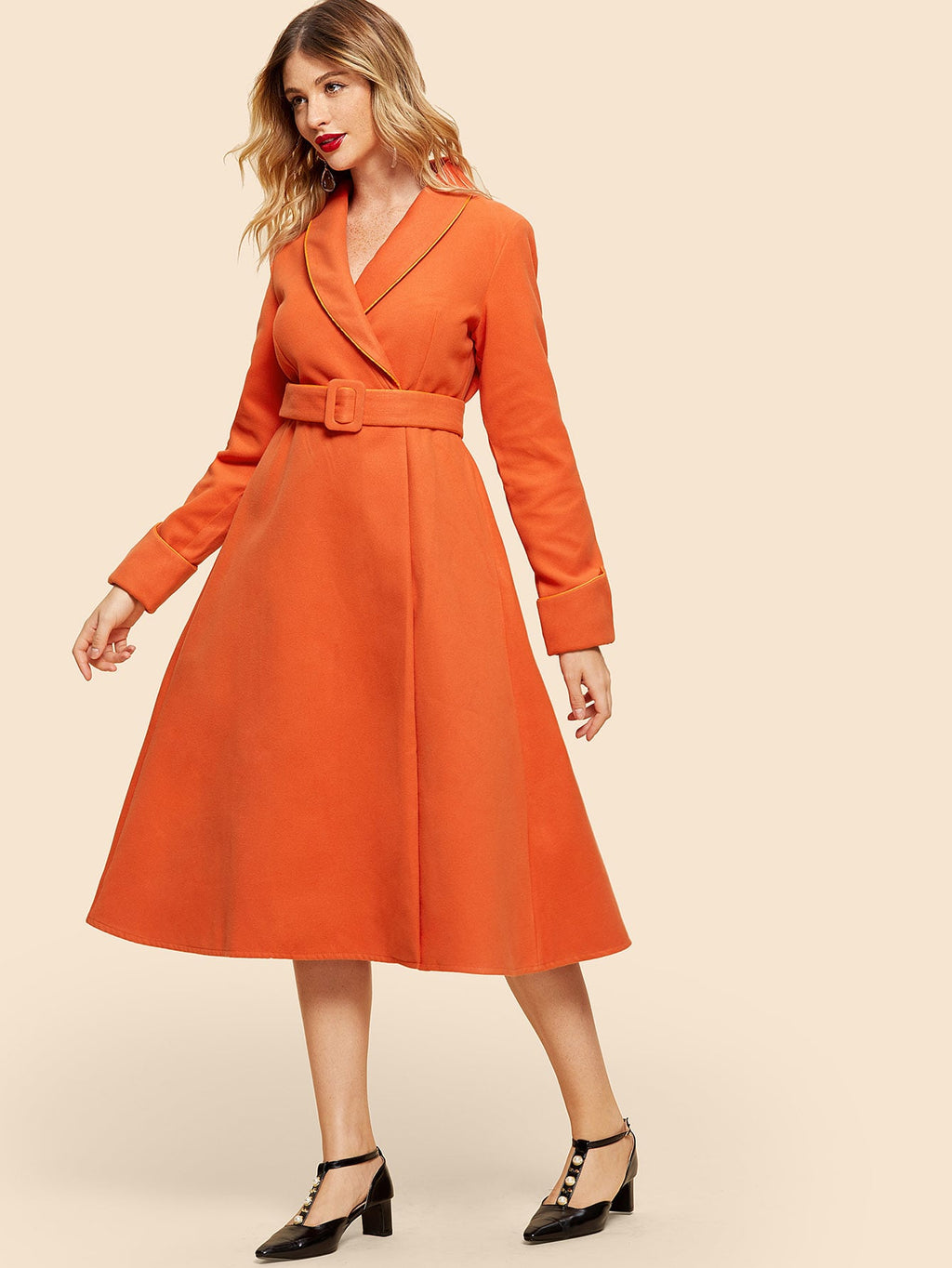 Self Belted Shawl Neck Dress