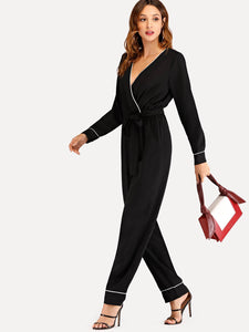 Contrast Seam Self Tie Jumpsuit
