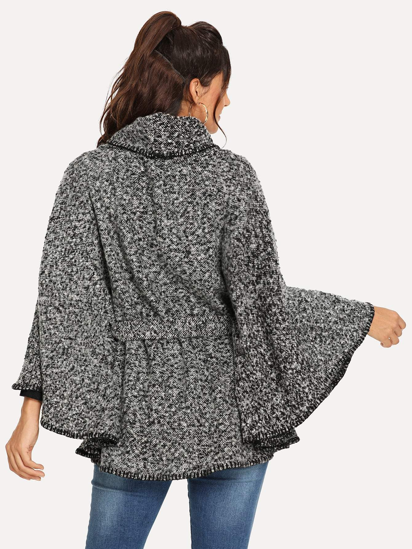 Self Belted Poncho Coat