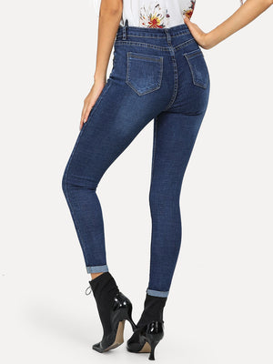 Solid Button Detail Pocket Front Jeans