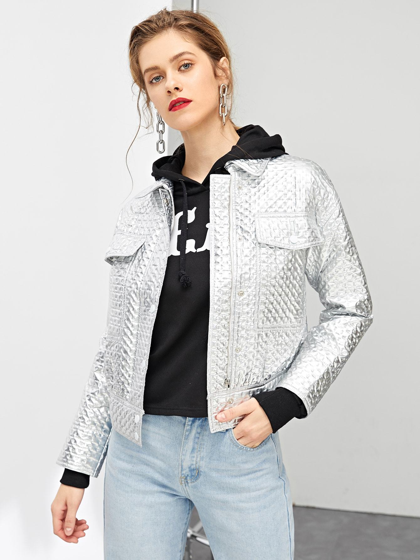 Zip & Pocket Front Collar Neck Jacket