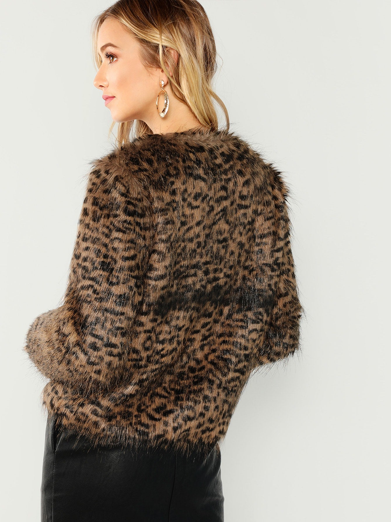 Brown Vintage Elegant Open Front Faux Fur