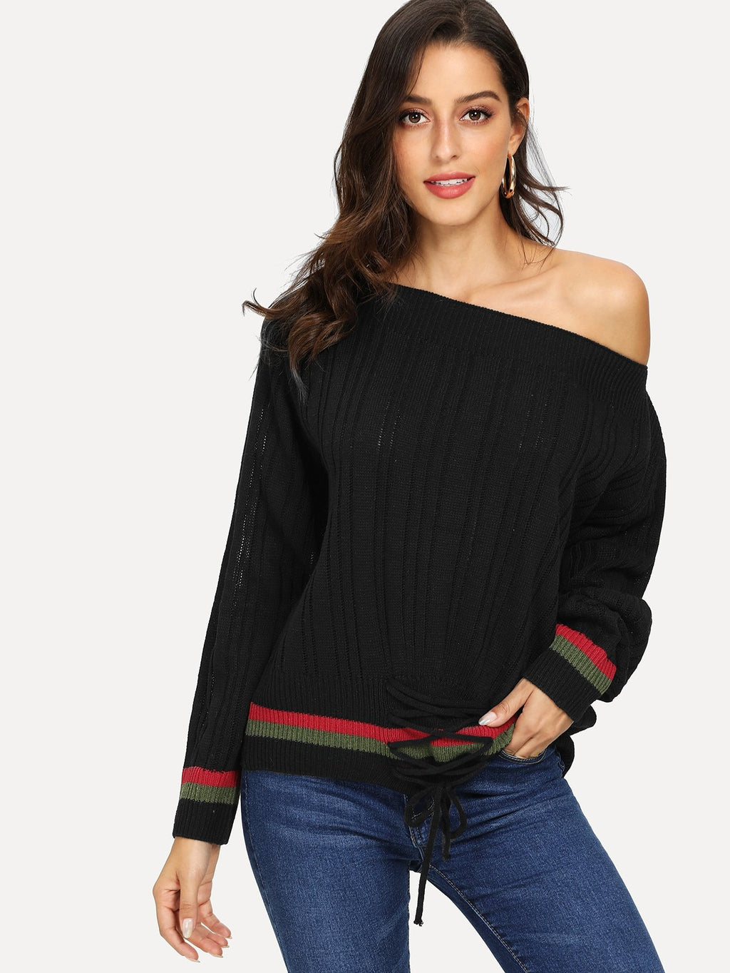 Lace Up Front Striped Trim Sweater