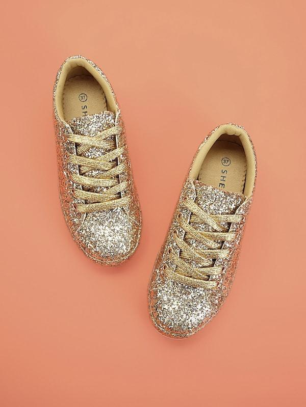 Lace Up Glitter Trainers