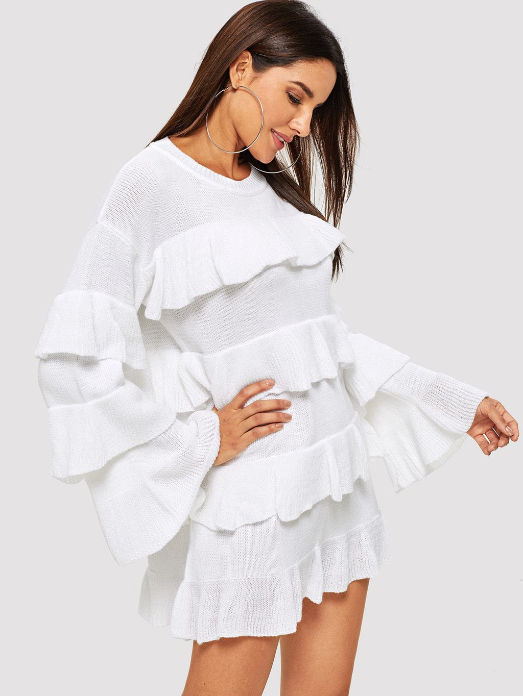 Solid Tiered Ruffle Jumper