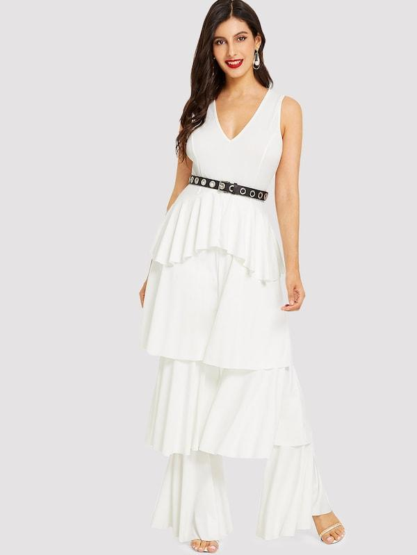 Tiered Ruffle Leg Plunging Neck Jumpsuit