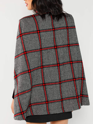 Plaid Poncho Coat