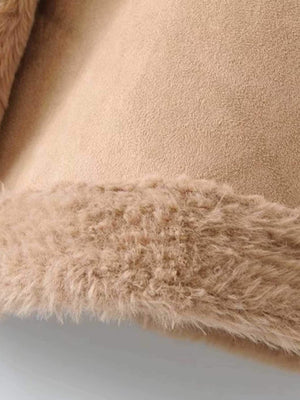 Faux Shearling Lined PU Coat