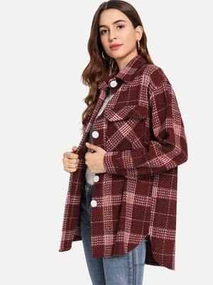 Single Breasted Plaid Coat