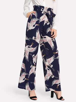 Flamingo Print Self Belted Wide Leg Pants