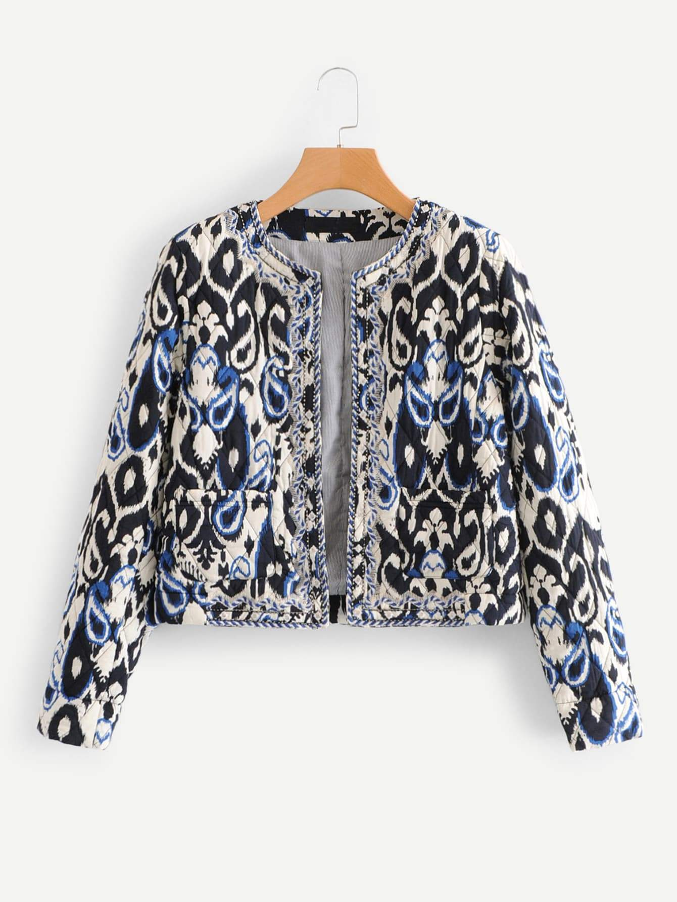 Paisley Print Beaded Embroidery Quilted Coat