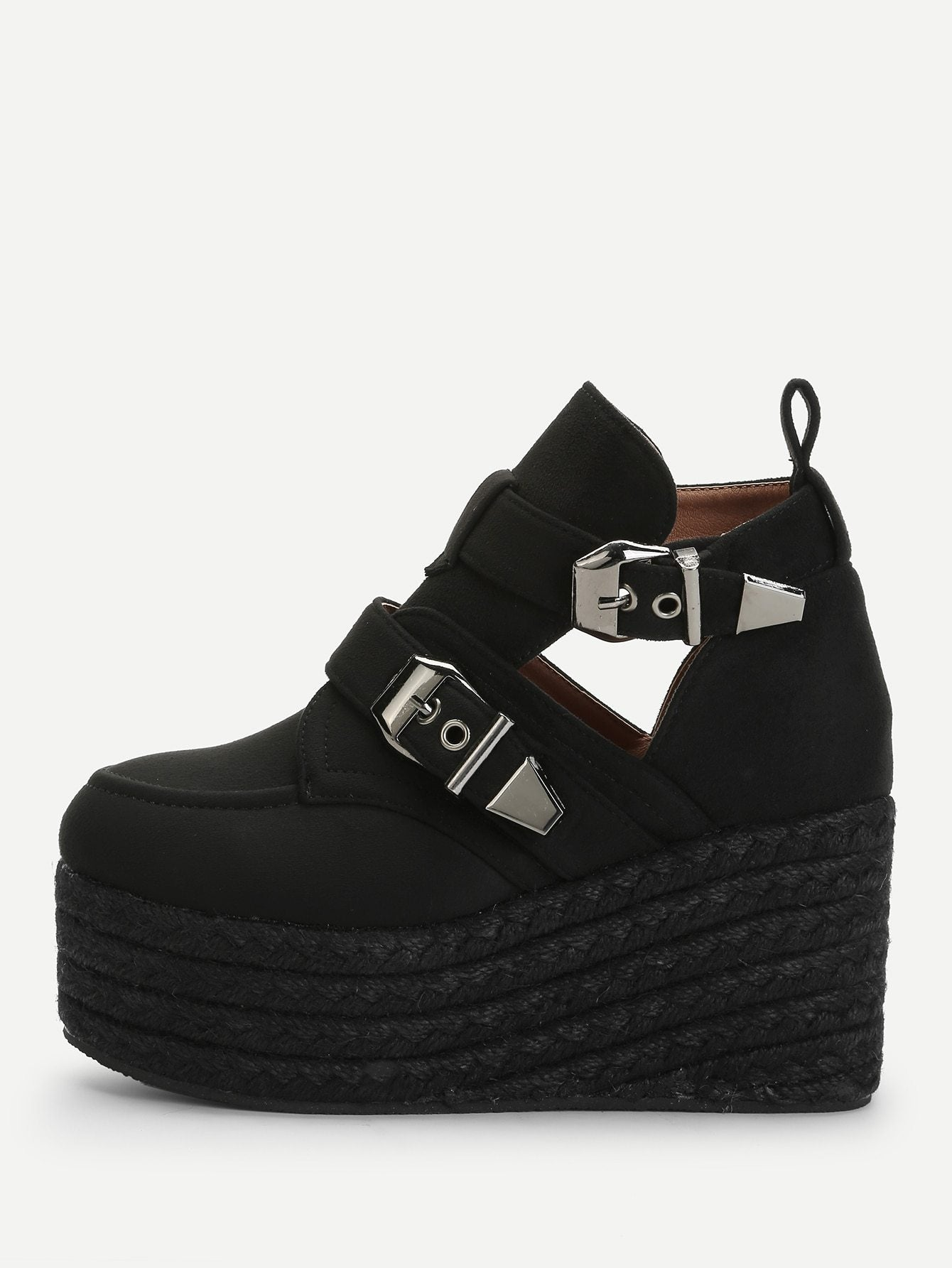 Buckle Decorated Espadrille Wedges