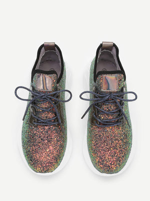 Low Top Lace-up Glitter Sneakers