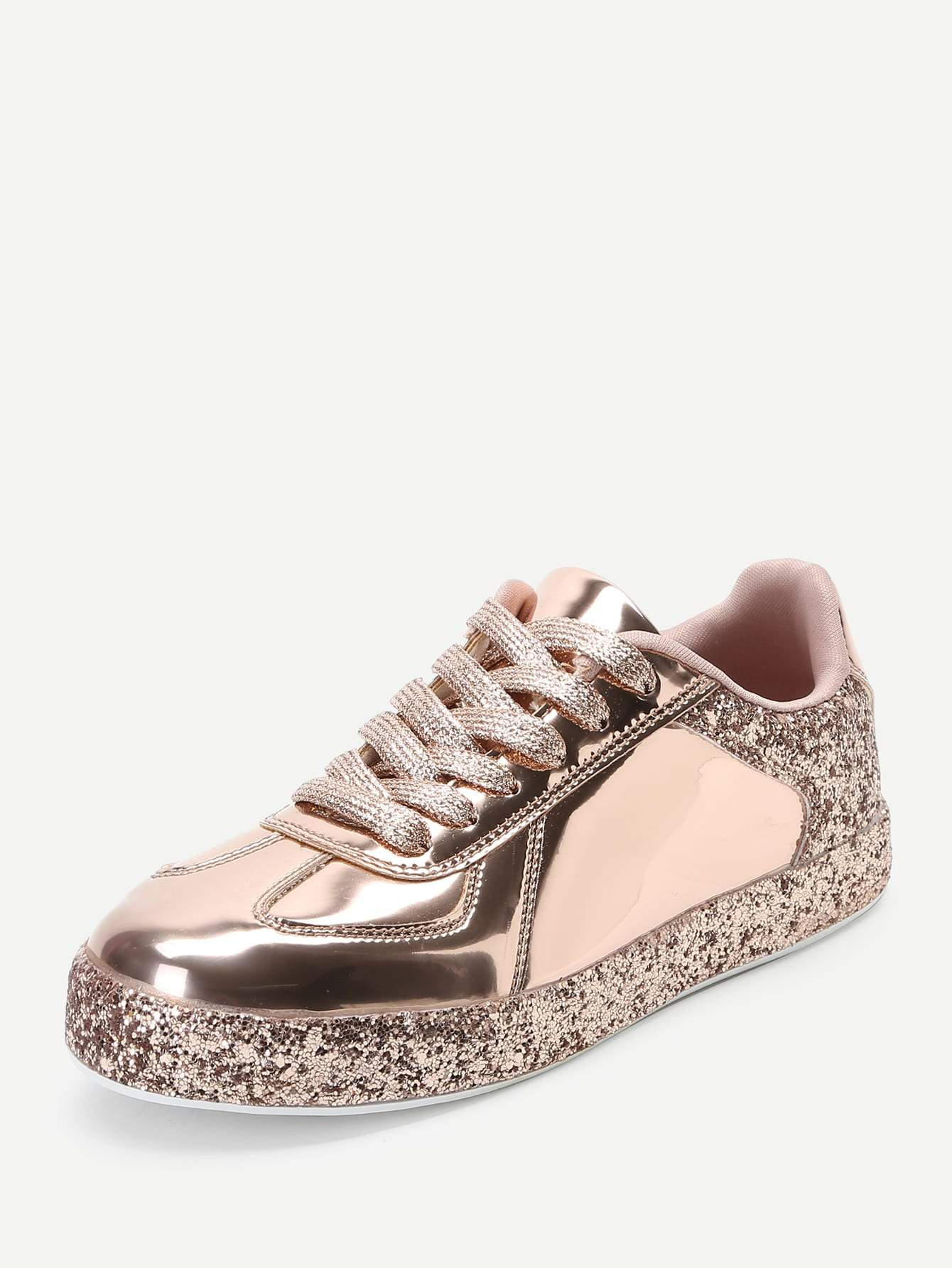 Contrast Sequin Lace Up Sneakers