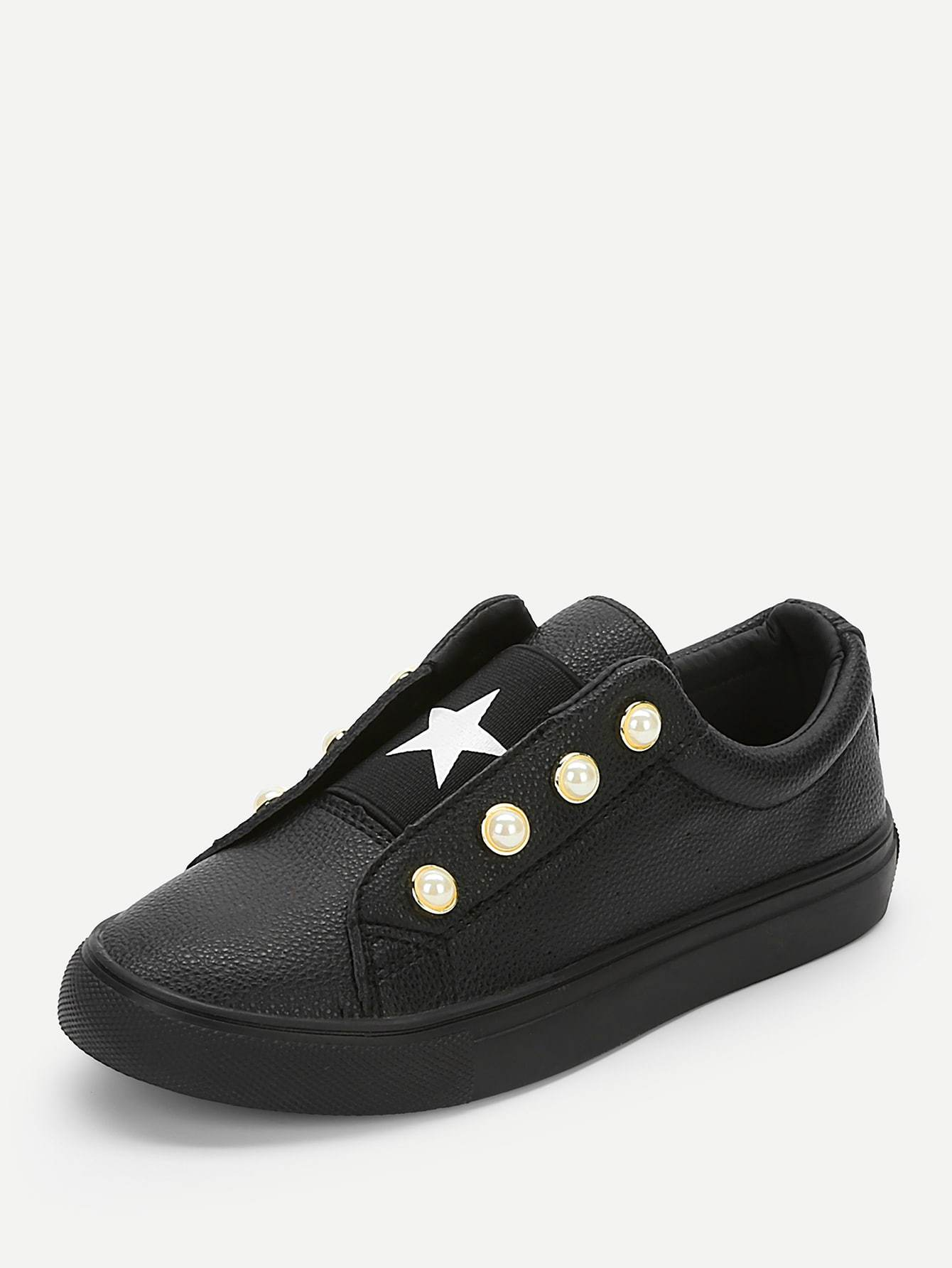 Star And Faux Pearl Detail Sneakers