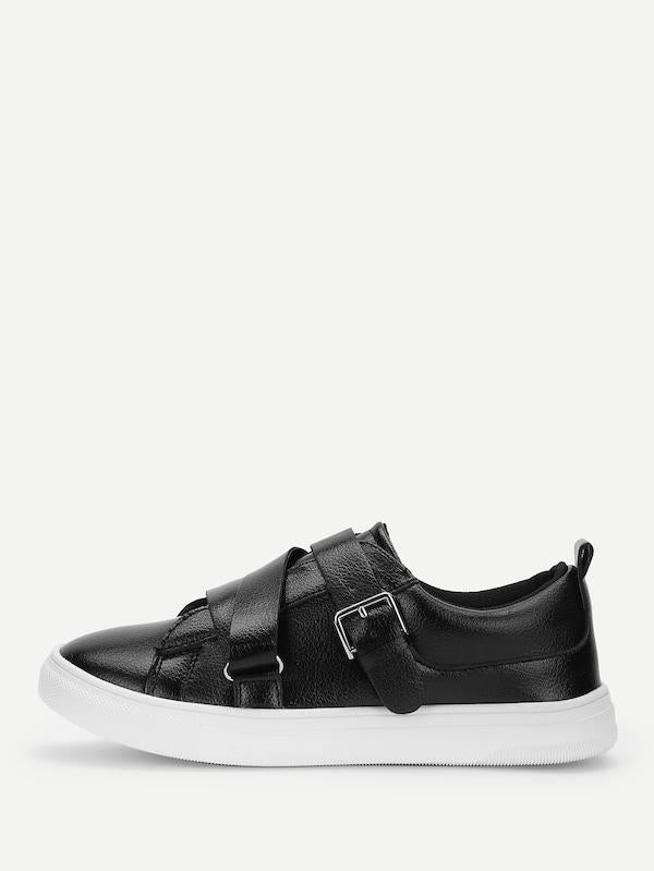 Buckle Detail Low Top PU Sneakers