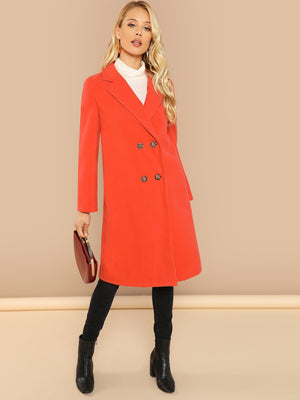 Notch Collar Double Breasted Placket Coat