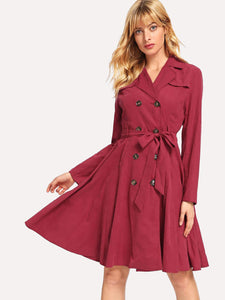 Notch Collar Tie Waist Trench Coat