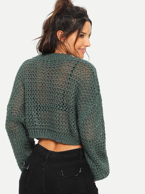 Loose Knit Solid Crop Jumper