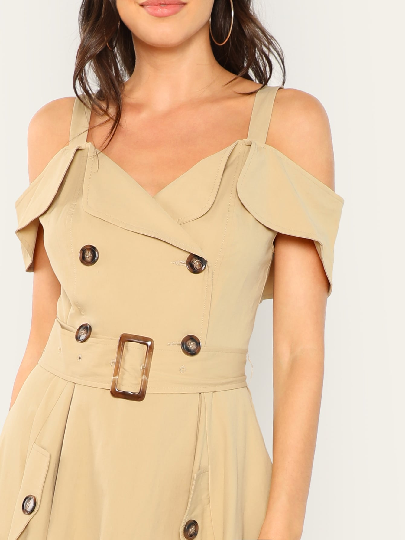 Cold Shoulder Asymmetric Trench Dress