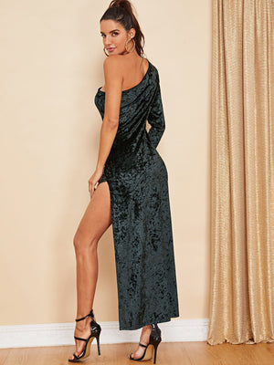 Slit Side Fitted Velvet Dress