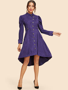 Leg-of-mutton Sleeve High Low Suede Dress