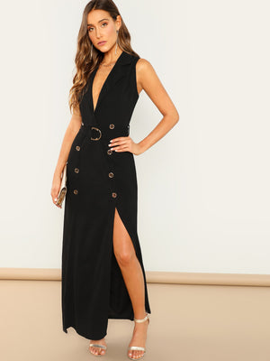 Double Breasted Belted Sleeveless Trench Dress
