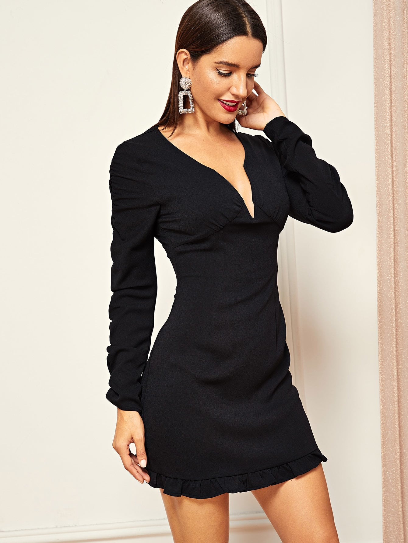 Plunge Neck Gathered Sleeve Frilled Dress