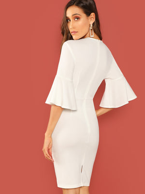 Bell Sleeve Slim Fitted Dress