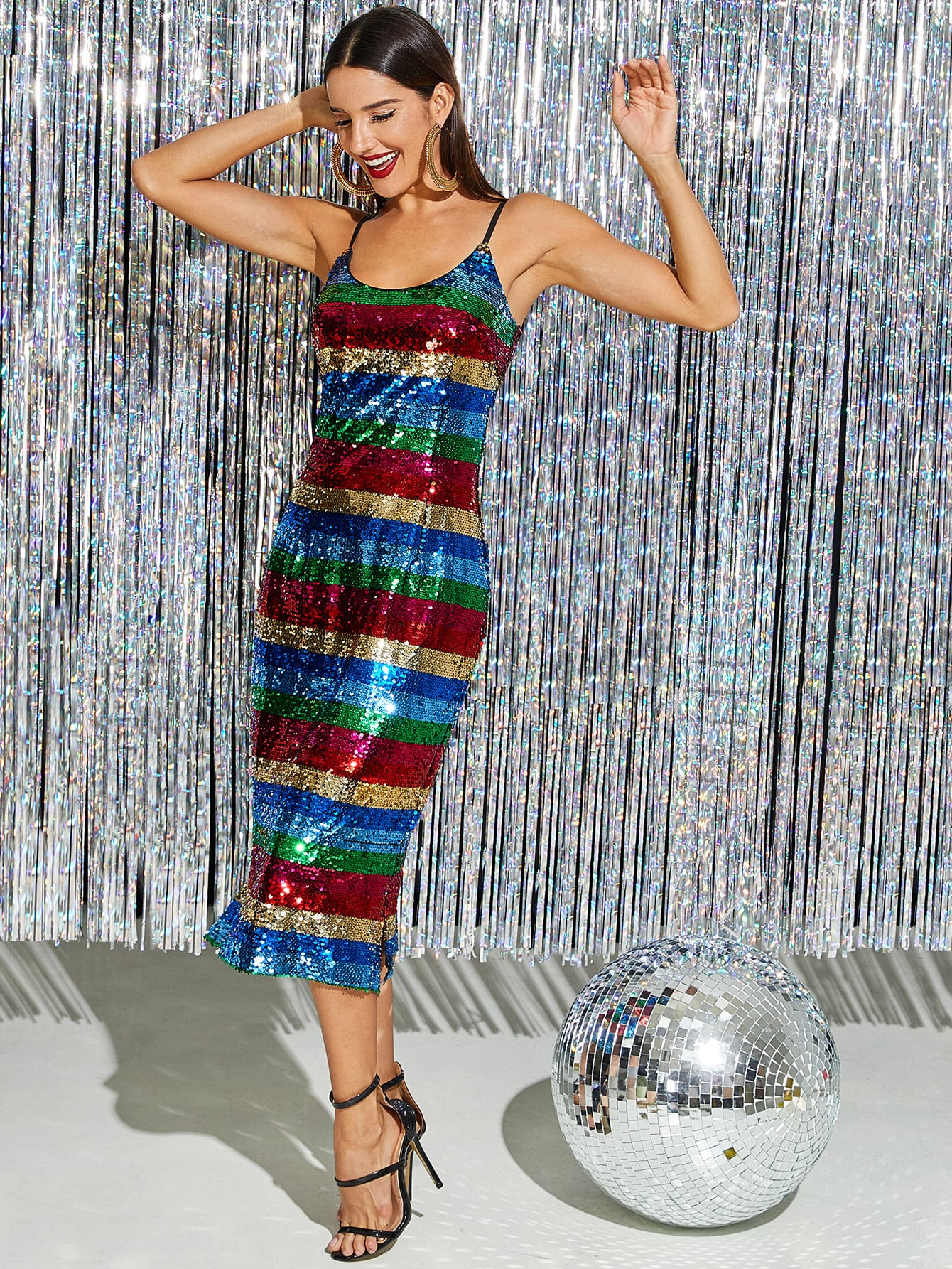 Color-Block Sequin Cami Dress